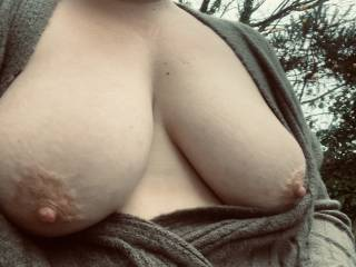 Tits out in the rain and cold, those nipples are so hard right now. Fancy a suck on them?