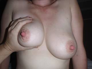 wanna suck on those hot juicy tits and slap my black stick hard!!