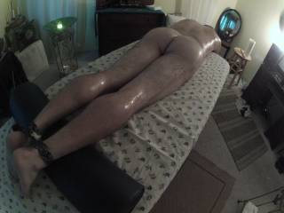 a sexy friend oils me up as she massages me