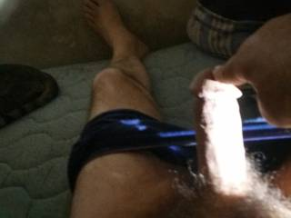 My cock  needs some  he is getting hard and thick