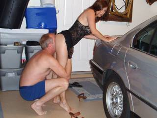 Candi Annie gets her ass licked clean in her garage... ready for action?