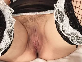 Naughty maid cleaning house gets horny and wants fuck