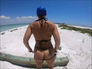 Showing my ass and pussy at Passage Key sandbar