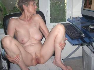 Checking My Messages-who knew there were so many lovely cocks that would be interested in a naked 63 yo grandma-I could take 2-3 of them right now by sitting like this
