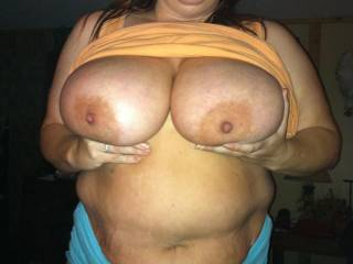 Wife showing off her big 38g tits