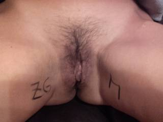 """Offering wife's sweet pussy for all zoigers, she was so wet thinking on all of you enjoying her. Dick and cum tributes """"wellcum"""" (little M on pussy is for a special friend, you know)"""