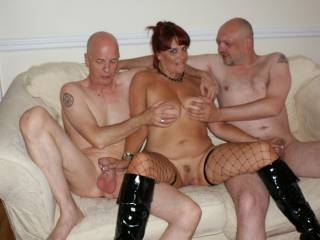 Chrissy rubbed the guys cocks before sucking them
