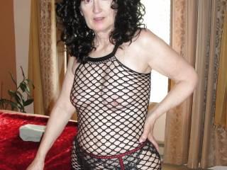 Friend Sue in black wig