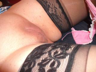 Stunningly arousing.The flash of your pink knickers and the black mesh of your stockings in contrast with the warmth of your soft flesh.....perfection.x