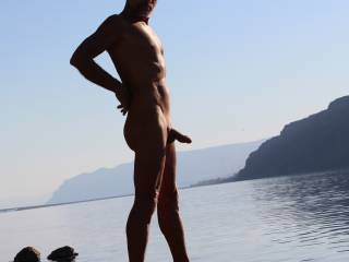Smooth nudist at the river,,,,