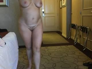 N posing in our Vegas hotel room