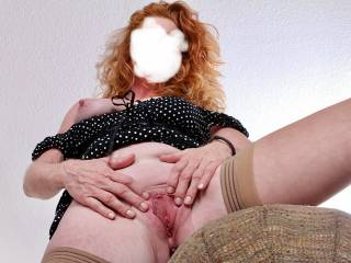 Mmmm yeah, love spreading my cunt for you. Stick your hard cock up here! xxxxx