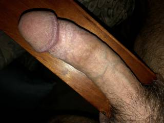 Footboard was the perfect backdrop to show off this big hard cock