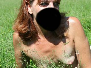 It was a nice sunny warm day, we decided to take off and go to the local park. I was modeling one of my hand made bikinis, hubby was snapping pics. Can you find the lurking pussy, hiding in the tall grass?