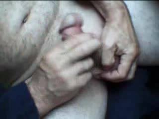Here some ball and two handed play just after camming on ZOIG. My stiff cock loves it and rewards me with more precum, a swollen cock head and at the end a modest cum load, my second in a short period hence modest. The first load was in chat, loved it